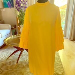 Lemon yellow dress with voluminous sleeves.